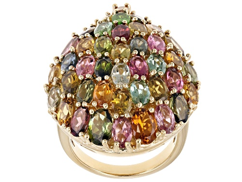 Photo of 7.06ctw Oval & .68ctw Pear Shape Multi-Color Tourmaline 18k Yellow Gold Over Silver Ring - Size 5