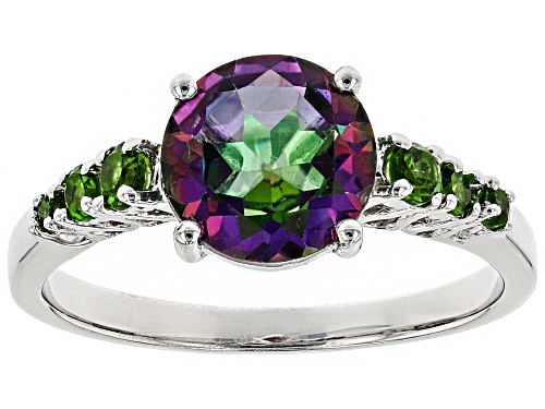 Photo of 1.90ct Round Mystic Topaz(R) With .23ctw Round Chrome Diopside Rhodium Over Silver Ring - Size 9