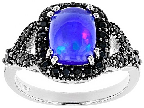 Photo of 1.10ct Rectangular Cushion Blue Opal & .63ctw Black Spinel Sterling Silver Ring - Size 5