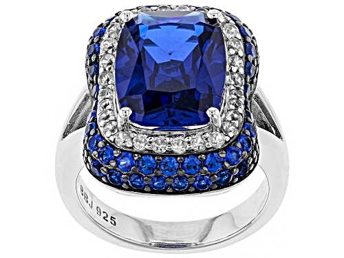 Photo of 6.70ctw Lab Created Blue Spinel With .47ctw Zircon Rhodium Over Sterling Silver Ring - Size 7
