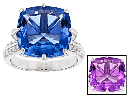 Photo of 12.32ct Color Change Fluorite With .67ctw White Zircon Rhodium Over Sterling Silver Ring - Size 8