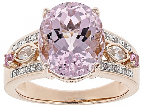 Photo of 5.72ct kunzite, .34ctw white zircon, pink sapphire & diamond accent 18k rose gold over silver ring - Size 5
