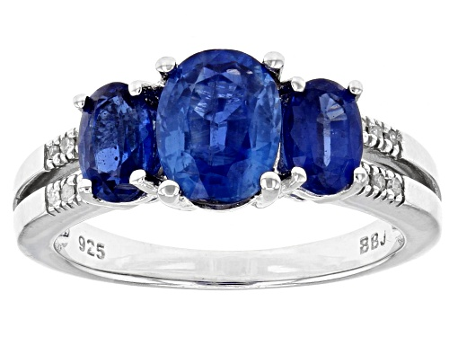 Photo of 2.30ctw Kyanite With .03ctw Diamond Accent Rhodium Over Sterling Silver Ring - Size 9