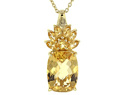 Photo of 8.20CTW ROUND,MARQUISE,CUSHION BRAZILIAN CITRINE 18K YELLOW GOLD OVER SILVER PENDANT WITH CHAIN
