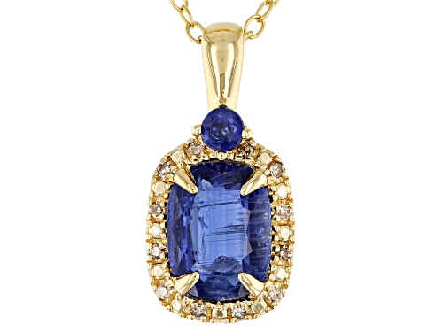 Photo of 1.55ctw blue kyanite & .04ctw champagne diamond accent 18k gold over silver pendant with chain