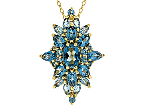 Photo of 3.78ctw Mixed Shape London Blue Topaz 18k Yellow Gold Over Silver Cluster Pendant W/ Chain