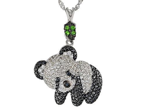 Photo of 2.23ctw Black Spinel & Zircon W/ .08ctw Chrome Diopside Rhodium Over Silver Panda Pendant W/ Chain
