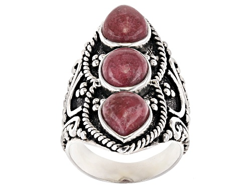 Photo of 9x7mm Pear Shape & Oval Thulite Rhodium Over Sterling Silver 3-Stone Ring - Size 6