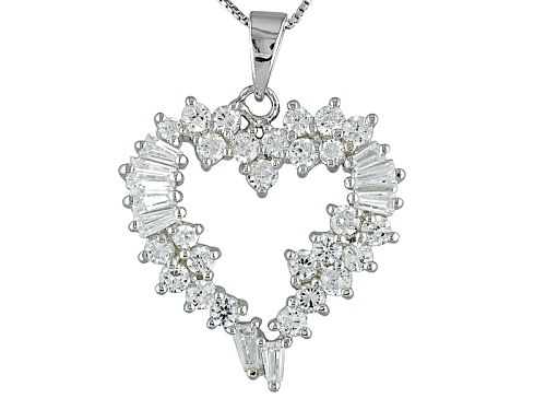 Photo of Preowned 1.84ctw Bella Luce Diamond Simulant Open Heart Sterling Silver Pendant With Chain