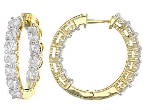 Photo of Pre-Owned Moissanite Fire® 3.84ctw Dew Round 14k Yellow Gold Over Silver Inside Out Hoop Earrings