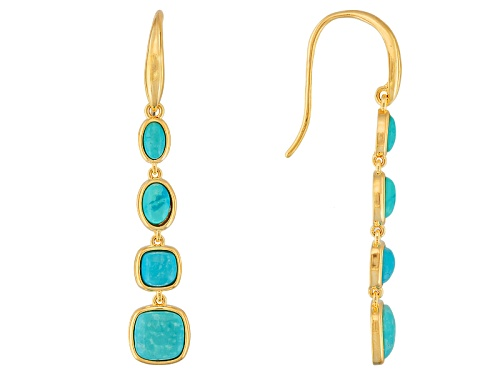 Photo of Pre-Owned Tehya Oyama Turquoise™ Mixed Shaped Cabochon Blue Kingman Turquoise 18k Gold Over Brass Ea