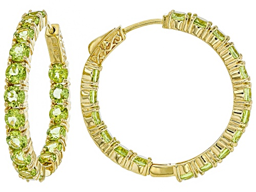 Photo of Pre-Owned 8.09ctw Round Manchurian Peridot(TM) 18k Yellow Gold Over Silver Inside/Outside Hoop Earri