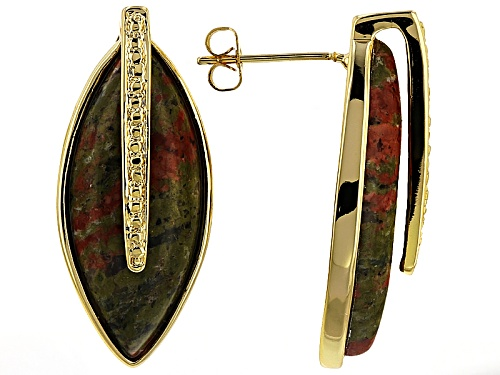 Photo of Pre-Owned Moda Di Pietra™ Marquise Multi Color Unakite 18k Yellow Gold Over Bronze Earrings