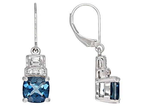 Photo of Pre-Owned 4.16CTW CUSHION LONDON BLUE TOPAZ WITH .23CTW WHITE TOPAZ RHODIUM OVER SILVER EARRINGS