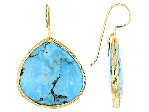 Photo of Pre-Owned Tehya Oyama Turquoise™ 18x18mm Pear Shape  Kingman Turquoise 18K Gold Over Silver Drop Ear