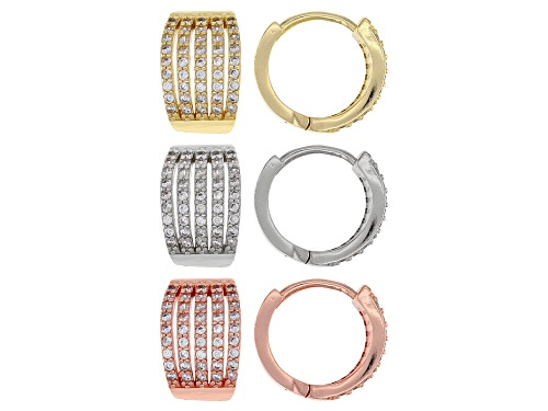 Pre-Owned Off Park ® Collection, Round White Crystal Tri-Color Set Of 3 Huggie Earrings