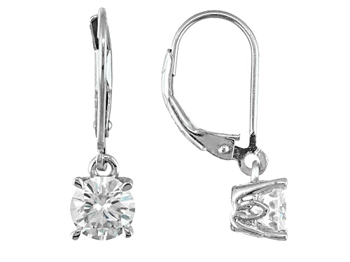 Photo of Pre-Owned Moissanite Fire® 1.60ctw Diamond Equivalent Weight Round Platineve™ Earrings