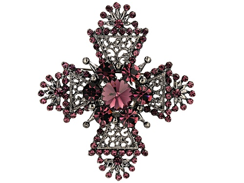 Photo of Pre-Owned Off Park ® Collection Purple Swarovski Elements ™ Antiqued Silver Tone Cross Brooch