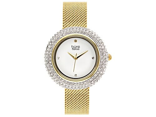 Photo of Pre-Owned Burgi™ Crystals From Swarovski™ Gold Tone Stainless Steel Mesh Metal Band Watch