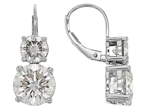 Photo of Pre-Owned Moissanite Fire® 7.00 Ctw Diamond Equivalent Weight Round 14k White Gold Earrings