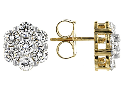 Photo of Pre-Owned MOISSANITE FIRE(R) 3.22CTW DEW ROUND 14K YELLOW GOLD OVER SILVER EARRINGS