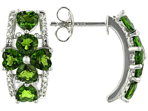 Photo of Pre-Owned 2.86ctw Heart Shape Chrome Diopside & .14ctw White Zircon Rhodium Over Silver J-Hoop Clove