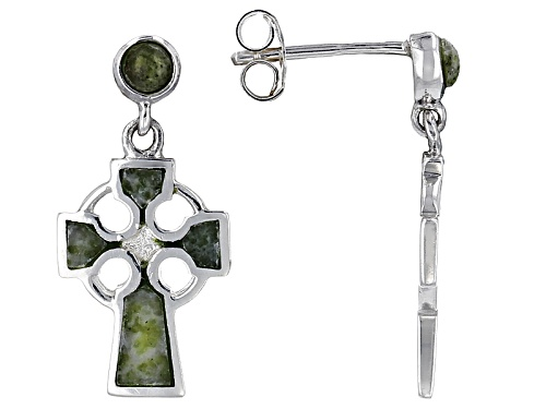 Pre-Owned Artisan Collection Of Ireland™ Connemara Marble Sterling Silver Celtic Cross Earrings