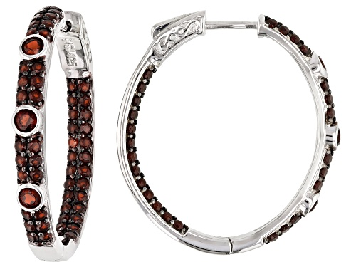 Photo of Pre-Owned ROUND RED GARNET RHODIUM OVER STERLING SILVER HOOP EARRINGS