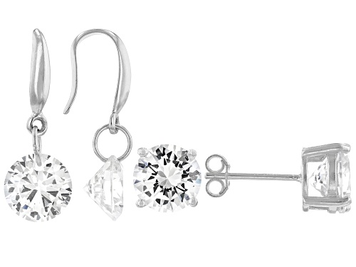 Photo of Pre-Owned Bella Luce ® 8.16ctw Rhodium Over Sterling Silver Earrings- Set of 2