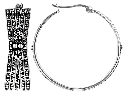 Photo of Pre-Owned Global Destinations™ Sterling Silver African Inspired Tribal Design Hoop Earrings