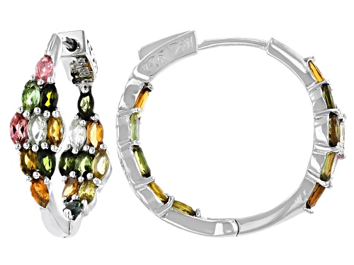 Photo of Pre-Owned 2.75ctw Marquise Multi-Color Tourmaline Rhodium Over Sterling Silver Inside Out Hoop Earri