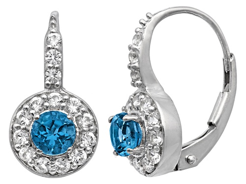 Photo of Pre-Owned London Blue Topaz And Lab Created White Sapphire Sterling Silver Earrings .92ctw