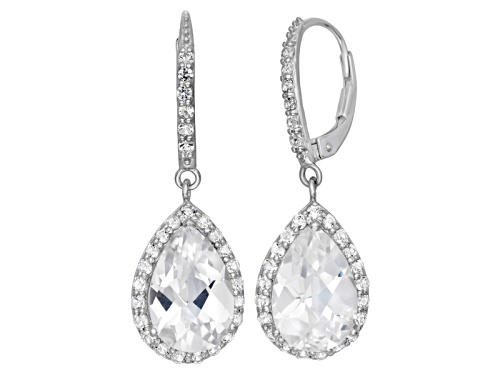 Photo of Pre-Owned Synthetic White Sapphire Sterling Silver Dangle Leverback Earrings 6.78ctw