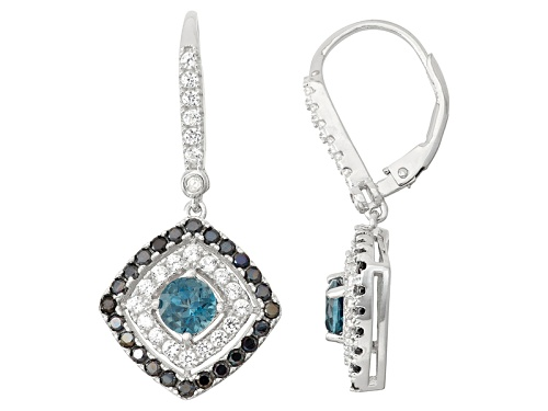 Photo of Pre-Owned Sterling Silver London Blue Topaz, Black Spinel And Synthetic Sapphire Earrings