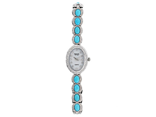 Photo of Pre-Owned Facets of Time(TM) 7x5mm Oval Sleeping Beauty Turquoise Brass Watch