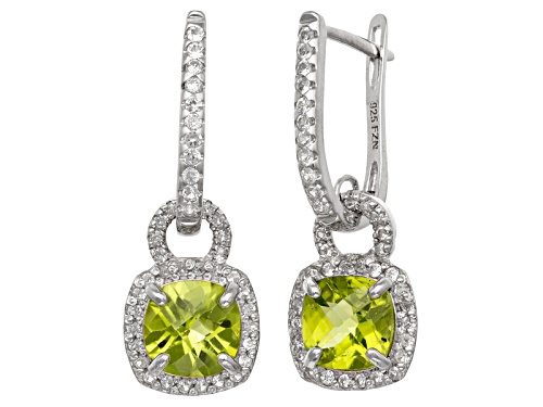 Photo of Pre-Owned Peridot And Synthetic White Sapphire Sterling Silver Leverback Earrings 3.13ctw
