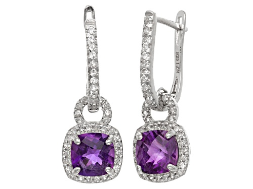 Photo of Pre-Owned Amethyst And Synthetic White Sapphire Sterling Silver Leverback Earrings 3.13ctw