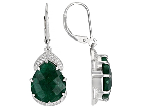 Photo of Pre-Owned 18.00ctw Pear Green Beryl With 1.00ctw Round White Zircon Rhodium Over Sterling Silver Ear