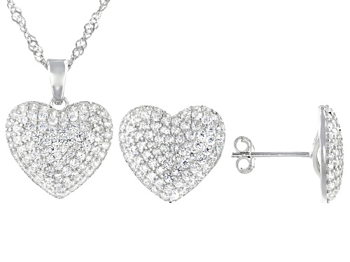 Photo of Pre-Owned Bella Luce ® 2.63ctw Rhodium Over Sterling Silver Heart Pendant With Chain And Earrings