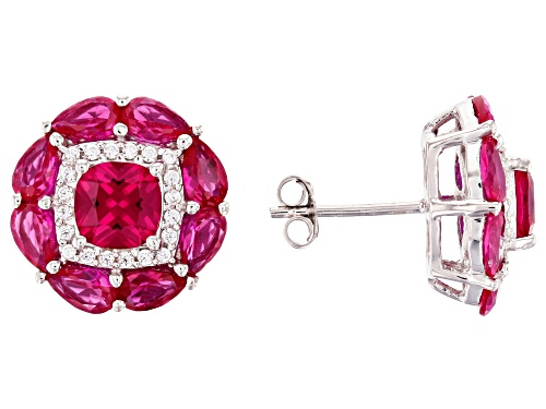 Photo of Pre-Owned Bella Luce ® 7.62ctw Lab Created Ruby and White Diamond Simulant Rhodium Over Sterling Ear