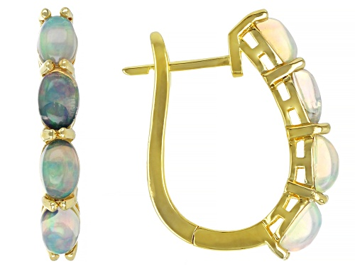 Photo of Pre-Owned 6x4mm Oval Ethiopian Opal 18K Yellow Gold Over Sterling Silver Huggie Earrings