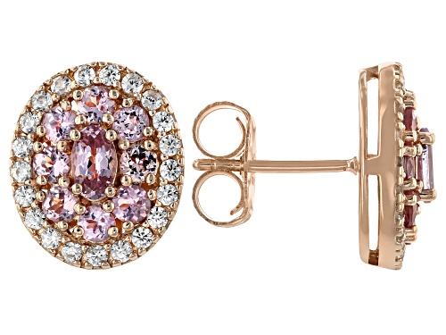 Photo of Pre-Owned 1.56CTW OVAL AND ROUND COLOR SHIFT GARNET WITH .75CTW WHITE ZIRCON 18k ROSE OVER SILVER EA