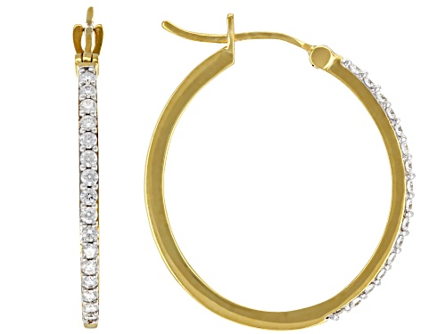 Photo of Pre-Owned MOISSANITE FIRE(R) .32CTW DEW ROUND 14K YELLOW GOLD OVER SILVER HOOP EARRINGS