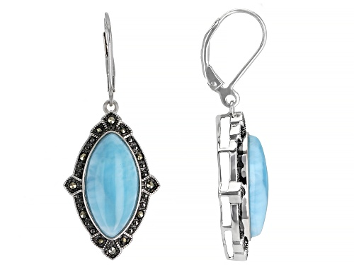 Photo of Pre-Owned 18X9mm Marquise Larimar and Marcasite Rhodium Over Silver Earrings