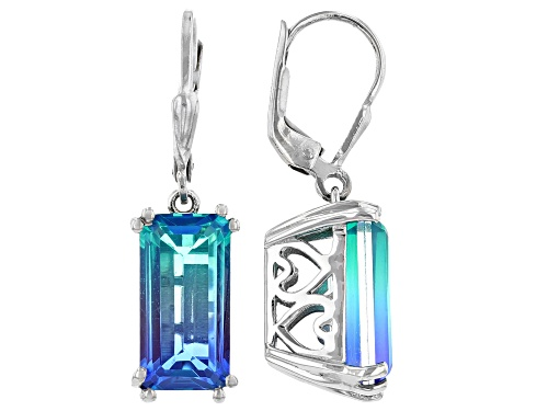 Photo of Pre-Owned 7.50CTW RECTANGULAR OCTAGONAL INDIAN OCEAN TRIPLET QUARTZ RHODIUM OVER  SILVER DANGLE EARR