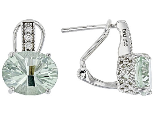 Photo of Pre-Owned 4.17ctw Quantum Cut(R) Oval Prasiolite with 0.12ctw Zircon Rhodium Over Sterling Silver Ea