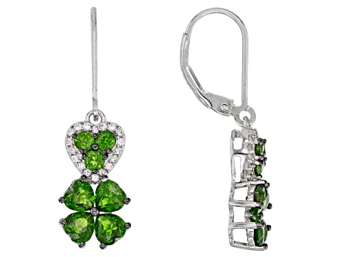 Photo of Pre-Owned 2.31ctw Chrome Diopside & .15ctw White Zircon Rhodium Over Silver Four-Leaf Clover Dangle