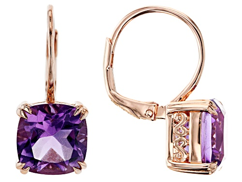 Photo of Pre-Owned 5.39CTW CUSHION Rose de Fance AMETHYST 18K ROSE GOLD OVER STERLING SILVER DANGLE EARRINGS