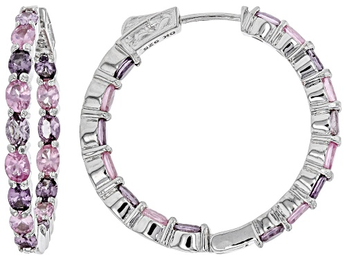 Photo of Pre-Owned 5.47ctw Oval Multi-Colored Spinel Rhodium Over Sterling Silver Inside/Outside Hoop Earring