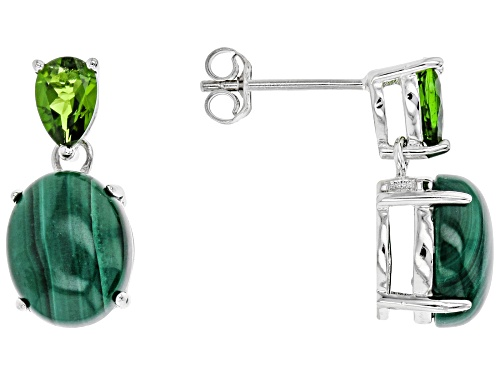 Photo of Pre-Owned 10x8mm Malachite With .92ctw Shape Russian Chrome Diopside Rhodium Over Silver Dangle Earr